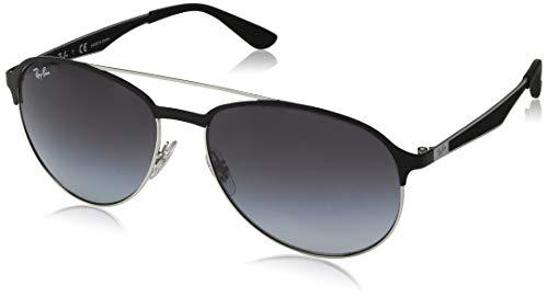 Ray-Ban Herren 0RB3606 Sonnenbrille, Schwarz (Silver On Top Matte Black), 59
