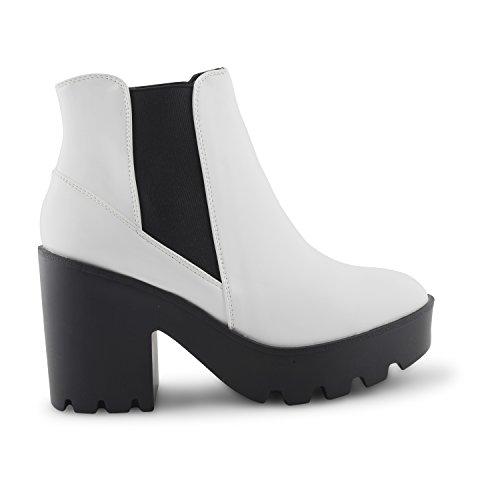 Neuer Damen Dolcis High Heel mit genagelter Sohle Twin Zwickel Chelsea Stiefeletten Damen geschoben Fashion Trendy Punk Schuhe Weiß
