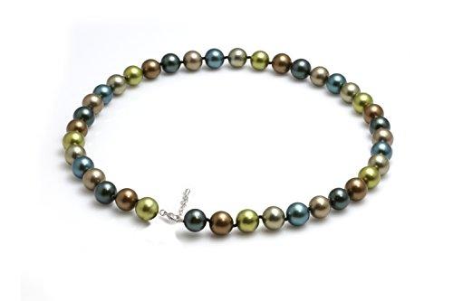 Schmuckwilli Damen Muschelkernperlen Perlenkette aus echter Muschel multifarbig 45cm 10mm mk10mm178-45