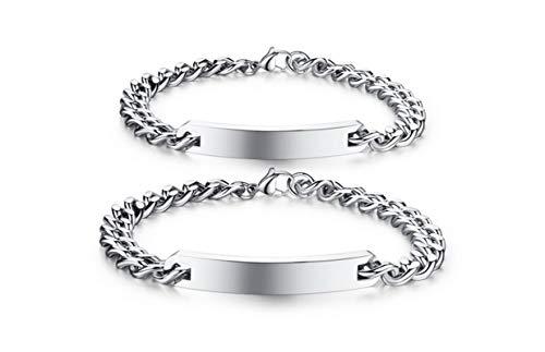 Beydodo Edelstahl Panzerarmband Charm Armband für Paar Quadrat Tag Wristband Weiß