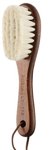 Rozia Pro Quality Wooden Baby Hair Brush for Newborns & Toddlers   Natural Soft Goat Bristles   Ideal for Cradle Cap   Perfect Baby Registry Gift