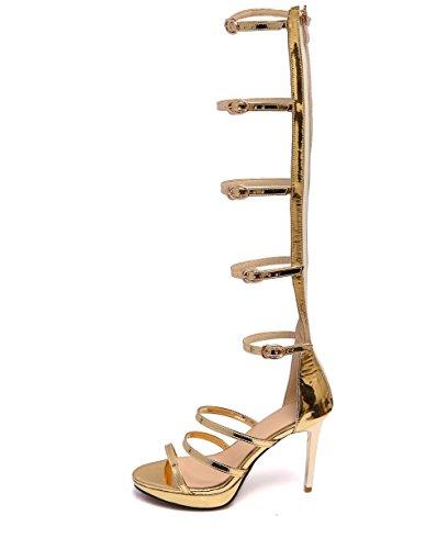NVXIE Damen Gladiator Sandalen Reißverschluss Ausgeschnitten Römersandalen Spitze Knie High Heel-Stiefel Gladiator Sandalen Riemchen GrößE, Gold, 36