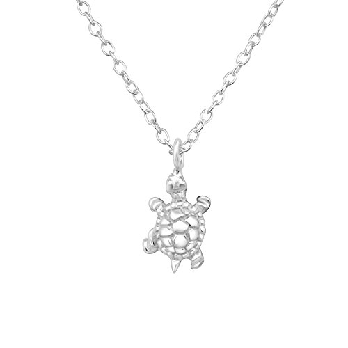 Monkimau 925 Sterling echt silber Schildkröte Charm-s Kette 3D deko Artikel Anhänger Damen Mädchen Kinder Silberhalskette-n