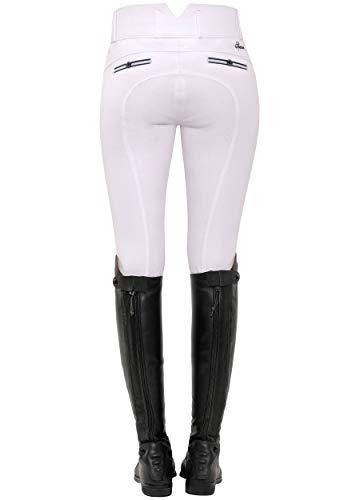 SPOOKS Reithose für Damen Mädchen Kinder, Voll-Besatz Reithosen Leggings Turnierreithose - bequem & stylisch Ricarda Full Grip High Waist - White S