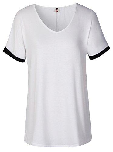 ELFIN® Damen Tops Sommer Kurzarm V-Ausschnitt T-Shirt Loose fit Hemd Bluse
