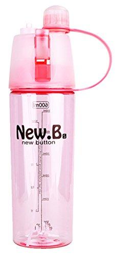 HUIMEIDE Transparent Sport Wasserflasche mit Sprayer 600ML Plastik - Trinkflasche Spray Flasche Wasser Becher für Das Laufen, Fitness, Yoga, Im Freien und Camping Schulbedarf Wasserflaschen (Rosa)