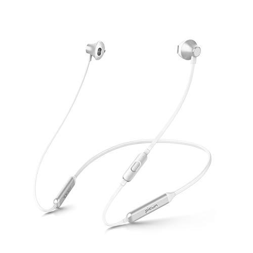 Kabellose Bluetooth-Kopfhörer,Magnetischer Sportkopfhörer mit zwei Ohren und Wasserdichtem Nacken CVC 6.0-Mikrofon mit Geräuschunterdrückung 24-Stunden-Spielzeit,zum Laufen im Fitnessstudio, White
