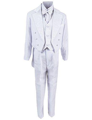 Festlicher Jungen Smoking Anzug 5 tlg. mit Weste oder Kummerbund in 3 Farben (0M / 50 / 56, #15 Weiss mit Weste)