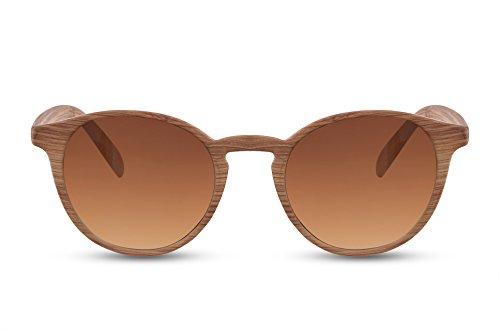 Cheapass Sonnenbrille Holz Braun Runde Gläser Vintage Plastik Damen Herren