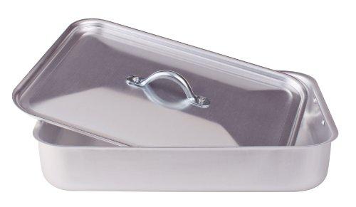 Pentole agnelli fama50bis32 family cooking alluminio rostiera rettangolare con coperchio, 32 cm