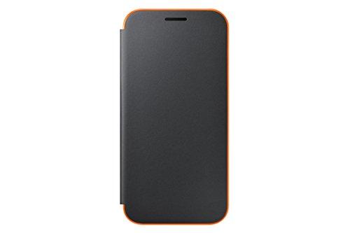 Samsung Coque Folio à Rabat pour Samsung Galaxy A3 2017 - Noir/Orange Fluo