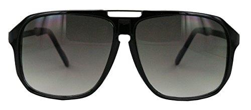 Retro Sonnenbrille 70er 80er Jahre Flat Top Rahmen Damen Herren WY (Schwarz)