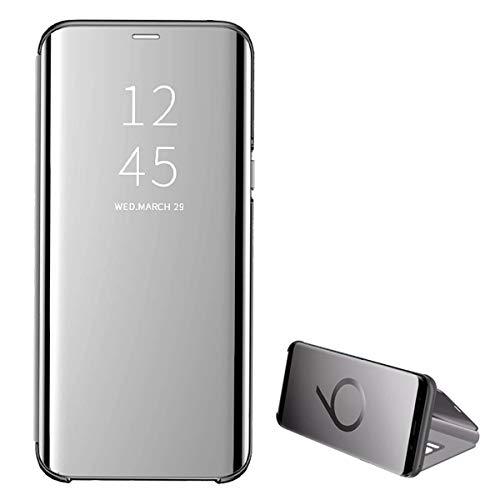 Kompatibel Samsung Galaxy S10 Handyhülle S10 Plus Hülle PU S10 Lite Leder Flip Clear View Schutzhülle Hart Ständer-Funktion Spiegeln Standfunktion Mirror s10 Hülle Case Cover (S10, Silver) -