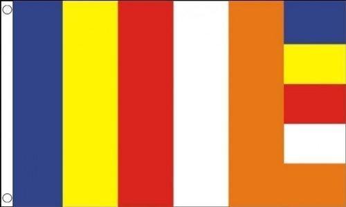 (5ft x 3ft (150x 90cm) Buddhismus Religion Religiöse 100% Polyester Material Flagge Banner Ideal für Pub Club Schule Business Party Dekoration)