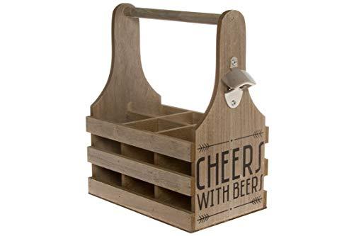 elbmöbel Holz Shabby chic 6er Flaschen-Träger mit Henkel Flaschentasche Flaschenkorb Herrenhandtasche Getränkekorb