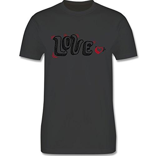 Valentinstag - Love Schrift mit Herz - Herren Premium T-Shirt Dunkelgrau