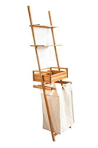 Badregal mit abnehmebarem Wäschekorb Wäschesammler aus Bambus 195 x 50 x 35cm, Badezimmerregal 3...