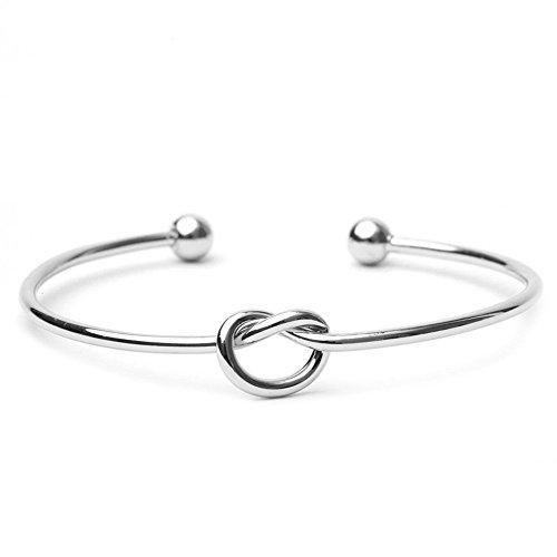 bodya Amour noeud Bracelet jonc simple Noeud Bracelet jonc ouvert bracelet élastique poignets pour femme noeud argent et or Bracelets - silver