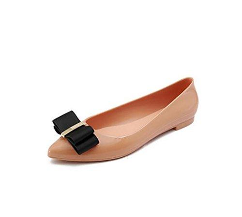 Damenschuhe, Flache untere Schuhe, Rutschfeste Regenstiefel, Bow Flache weiche Unterseite Gefrorene Schuhe (Farbe : A, größe : ()