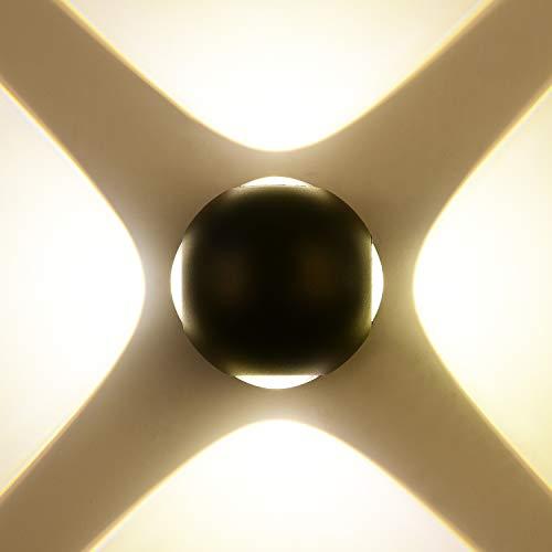 ZUZITO Modern LED Wandbeleuchtung Runde schwarz 4 Lichter Treppenaufgang Flurlampe Wandlampe Wasserdicht Außenbeleuchtung Heller Wandstrahler nutzbar - Runde 4 Licht