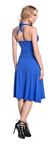 Glamour Empire. Damen Jersey Kleid Tiefer V-Ausschnitt Wickeloptik S-4XL. 145 Königsblau
