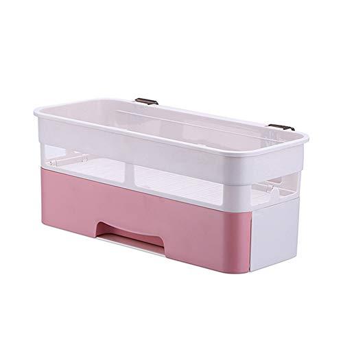 Kiyte Durchschlagsfreie Aufbewahrung Für Das Badezimmer Wandregal Kosmetikschublade Aufbewahrungsbox Rotierendes Dreieck-Badregal,Pink
