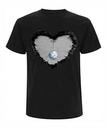 T-Shirt Wende Pailletten Disco Kugel- Spiegel Ball- Glitter Ball- Kugel- RUNDE- FUNKELN- DISCOBALL- GLOBUS- DISKOTHEK- Retro- NACHTLEBEN- Glitzer in Schwarz | Herren Größe XL (Globus Kostüm)
