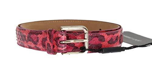 Dolce & Gabbana - Damen Gürtel - Women Belt - Red Snakeskin Leopard Pattern Belt - Size: 65cm