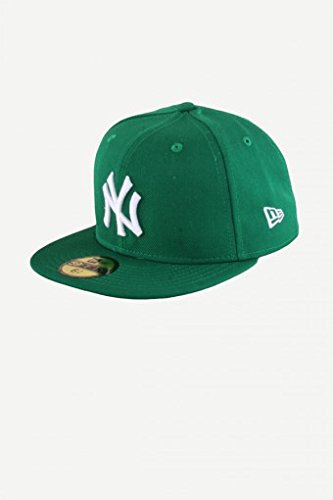 New Era Erwachsene Baseball Cap Mütze Mlb Basic New York Yankees 59Fifty Fitted, Green/White, 7 5/8 inch (60.6 cm)
