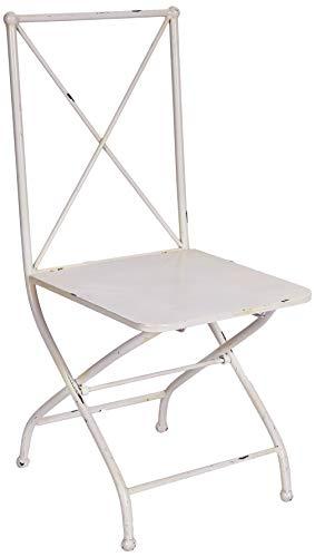Better Best & Chaise de Jardin Pliable en Fer Croix dans Le Dossier. 41.5x51x95 cm Blanc