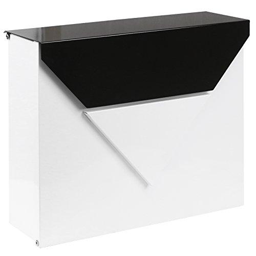 Hartleys cassetta postale da parete esterni - corpo bianco con coperchio in acciaio nero