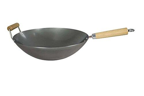 Dexam Padella professionale Wok in acciaio al carbonio, 34 cm