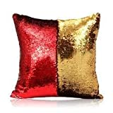 #8: Kartik Stylish Sequin Mermaid Throw Pillow Cover with Magical Color Changing Reversible Paulette Design Decor Cushion Pillowcase Set of 1 - Golden & Black