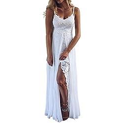 zarupeng✦‿✦ Señoras de Las Mujeres del Verano de la Correa Blanca con Cuello en v Gasa Sexy de Encaje Dividir Irregular Banquete Vestido de Fiesta en la Playa