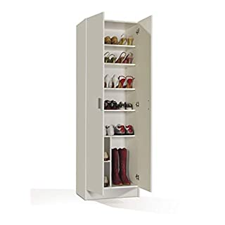 Furniturefactor -  MultiTall White 2 Door Utility Shoe Storage Cupboard Cabinet Armar 2p