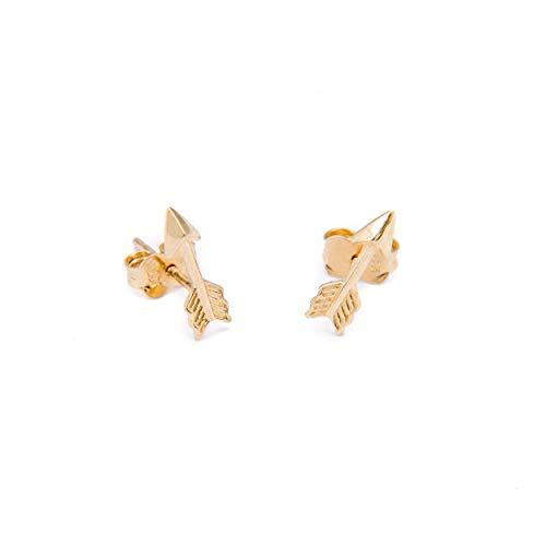 Damen Ohrringe Stecker 585 14k Gold Gelbgold Ohrstecker Pfeil (Goldene Ohrringe Pfeil Kleine)