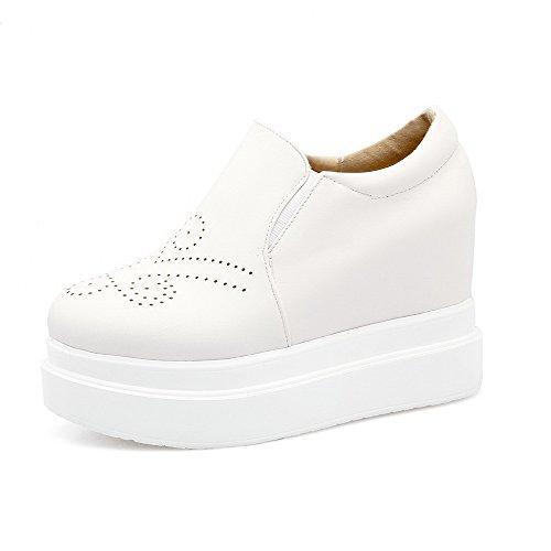 AgooLar Femme Rond Tire Pu Cuir Couleur Unie à Talon Haut Chaussures Légeres Blanc