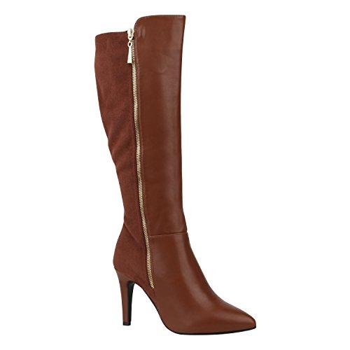 Elegante Damen Schuhe Stiefel High Heels Boots Stilettos Gefüttert 155961 Hellbraun Bernice 38 Flandell