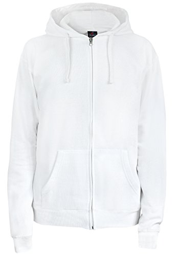 SUMG Apparel Unisex Kapuzenjacke Kapuzen Sweat-Jacke 'BASIC Hooded Zipper' (XL, weiß) (Kapuzen-jacke)