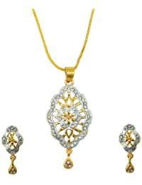 Aakhi Majestic Diamond Studded Flower Pendant Set for Women