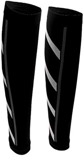 Kompression Bein (PRESKIN - 2 Kompressionsstrümpfe SportComp Schwarz ohne Fuß für Sportler, Job & Alltag, Wadenbeinling für Damen & Herren, gegen müde Beine und Krämpfe, für bessere Regeneration + Durchblutung)