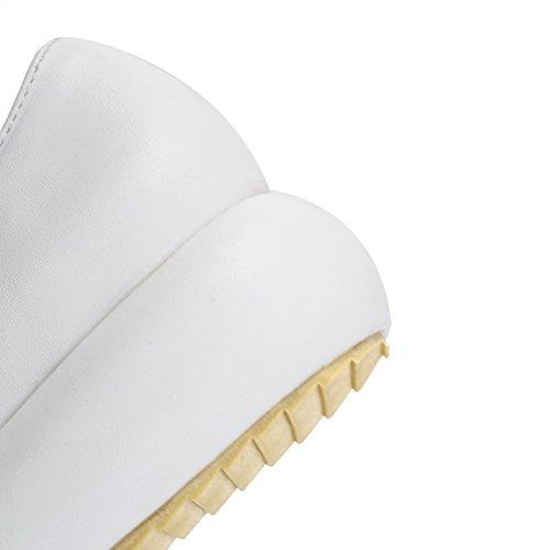 VogueZone009 Femme Tire Rond à Talon Bas Couleur Unie Chaussures Légeres Blanc