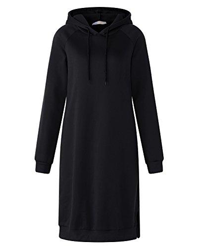 Kidsform Femme Robe Sweat à Capuche Manche Longue Outerwear Casual Pull Hoodie Jumper Noir