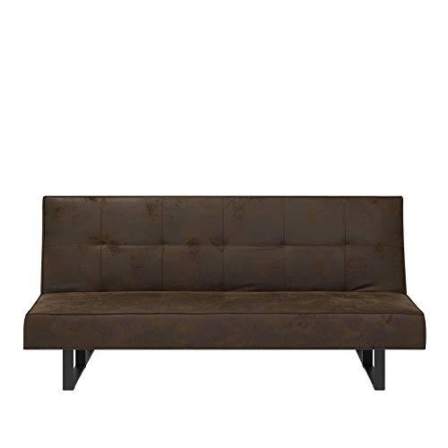 Beliani divano letto marrone - divano in pelle - sofa 3 posti - divano moderno - derby