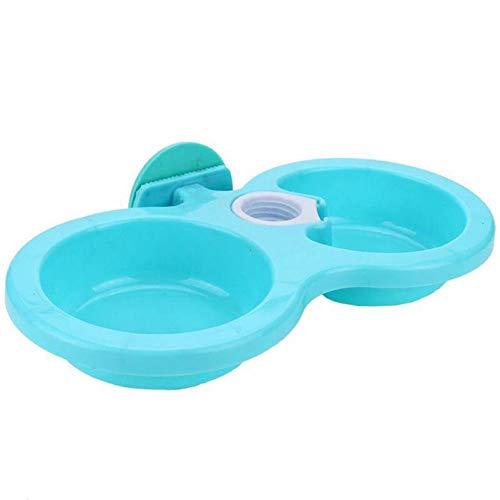 Ogquaton - 1 Ciotola di Sicurezza per Animali Domestici, in plastica, Stile sospesa, Doppia Ciotola dell\'Acqua degli Alimenti a Doppio Uso, Utensili per Cani e Gatti, Blu