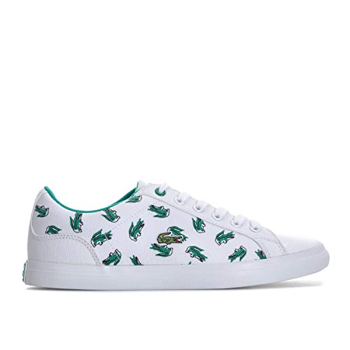 Lacoste Junior Boys Lerond 118 Trainers in White Green- Lace Fastening- Padded