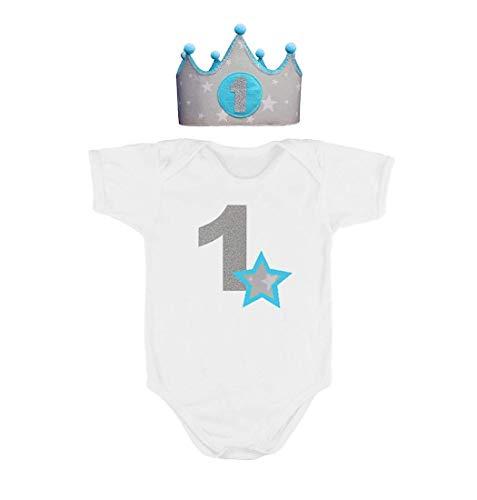 Corona + Body/Camiseta primer cumpleaños 1 año azul