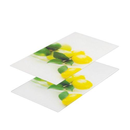 zeller-26271-tabla-para-cortar-de-cristal-2-unidades-52-x-30-centmetros-diseo-de-limones