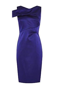 Karen Millen Cobalt Blue Satin Fitted Pencil Party Dress