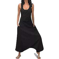 OverDose Soldes Combinaison Femme Été sans Manches Salopette Grande Taille, Loose Pantalon Sarouel Baggy Longue Jumpsuit Blanche Noir Taille S-5XL